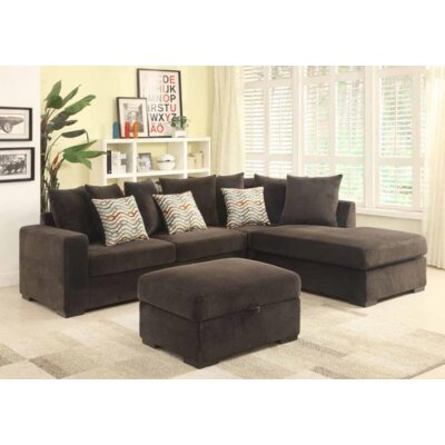 Bueno Reversible Sectional with Ottoman Upholstery: Chocolate