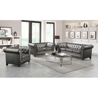 Desid�ria 3 Piece Living Room Set Upholstery: Gunmetal