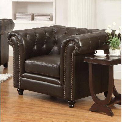 Desid�ria Chesterfield Chair Upholstery: Brown