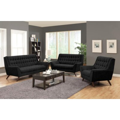 Britney 3 Piece Living Room Set Upholstery: Black