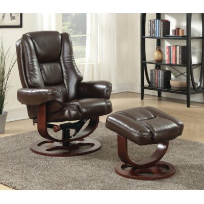 Archimbald Leaf Recliner with Ottoman Upholstery: Faux leather, Color: Brown