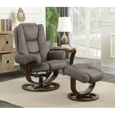 Archimbald Leaf Recliner with Ottoman Upholstery: Microfiber, Color: Gray