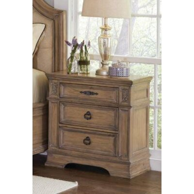 Leffel 3 Drawer Nightstand Color: Antique Linen