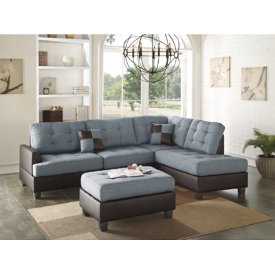 Venegas Reversible Sectional with Ottoman Upholstery: Blue Gray