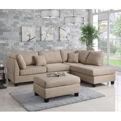 Vita Reversible Sectional with Ottoman Upholstery: Sand