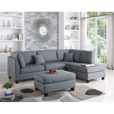 Vita Reversible Sectional with Ottoman Upholstery: Gray