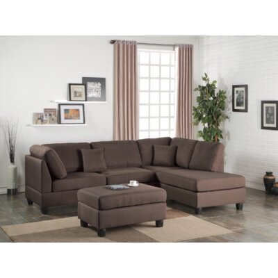 Vita Reversible Sectional with Ottoman Upholstery: Chocolate