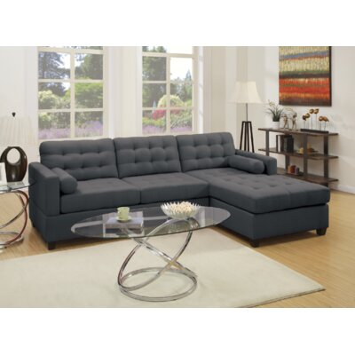 Viva Reversible Sectional Upholstery: Slate Black