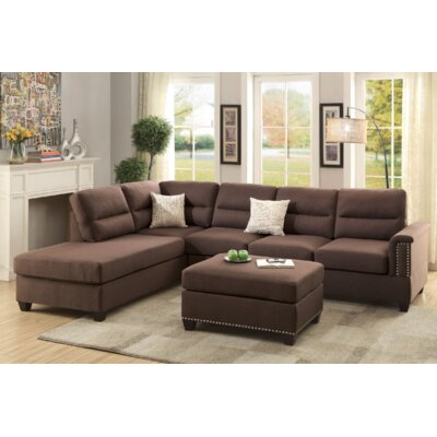 Venilale Reversible Sectional with Ottoman Upholstery: Chocolate