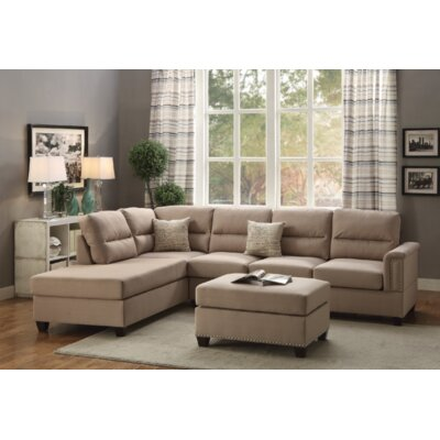 Venilale Reversible Sectional with Ottoman Upholstery: Sand