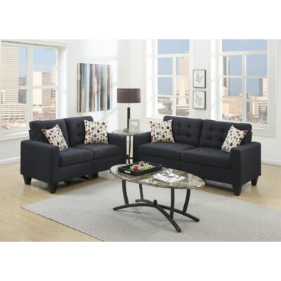 Cohn 2 Piece Living Room Set Upholstery: Black