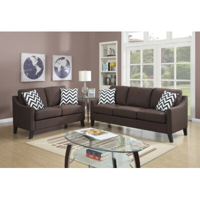 Venne 2 Piece Living Room Set Upholstery: Chocolate