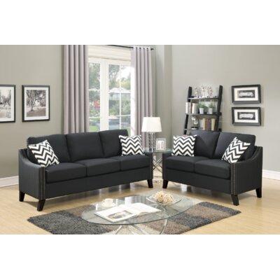 Venne 2 Piece Living Room Set Upholstery: Black