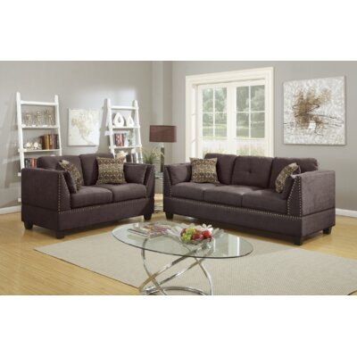 Donovan 2 Piece Living Room Set Upholstery: Dark Brown