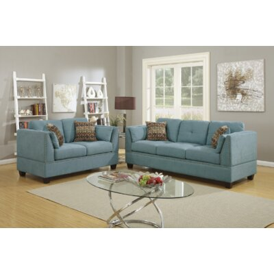 Donovan 2 Piece Living Room Set Upholstery: Hydra Blue