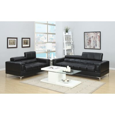 Jenkinson 2 Piece Living Room Set Upholstery: Black