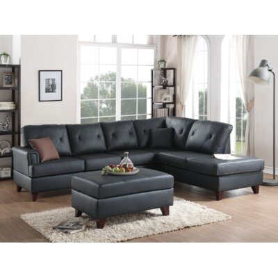Bevilacqua 3 Piece Living Room Set Upholstery: Black