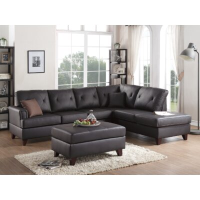 Bevilacqua 3 Piece Living Room Set Upholstery: Brown