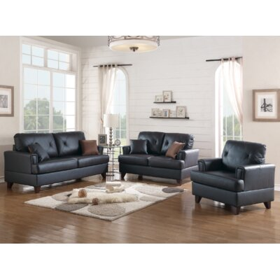 Douberly 3 Piece Living Room Set Upholstery: Black