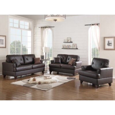 Douberly 3 Piece Living Room Set Upholstery: Brown