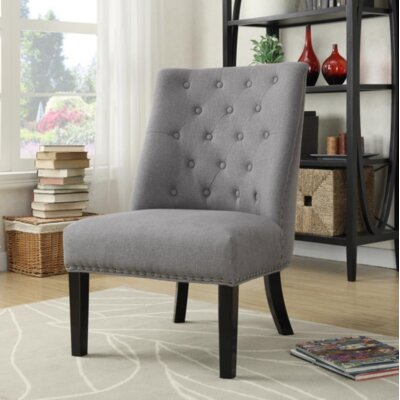 Leontine Upholstered Dining Chair Upholstery: Gray