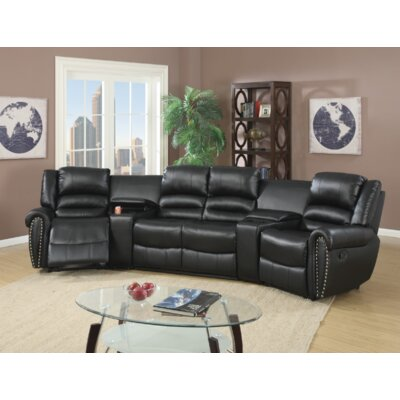 Breese 5 Piece Reclining Sectional Upholstery: Black
