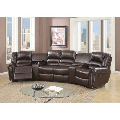Breese 5 Piece Reclining Sectional Upholstery: Brown
