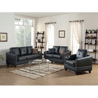 Torain 3 Piece Leather Living Room Set Upholstery: Black