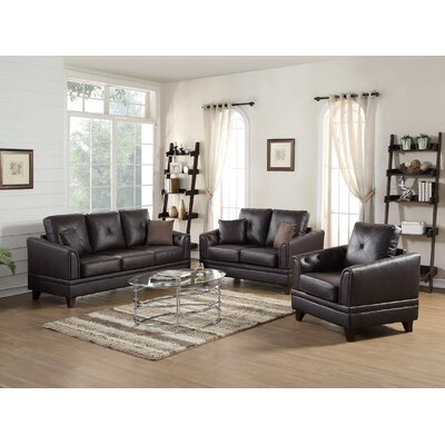 Torain 3 Piece Leather Living Room Set Upholstery: Brown