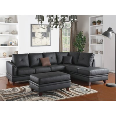 Torbert 3 Piece Leather Living Room Set Upholstery: Black