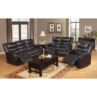 Stave Motion 3 Piece Living Room Set Upholstery: Black