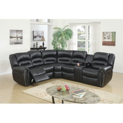 Stayton 3 Piece Leather Reclining Sectional Set Upholstery: Black