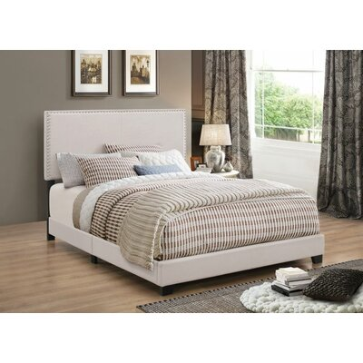 Sheldon Upholstered Panel Bed Color: Ivory, Size: King