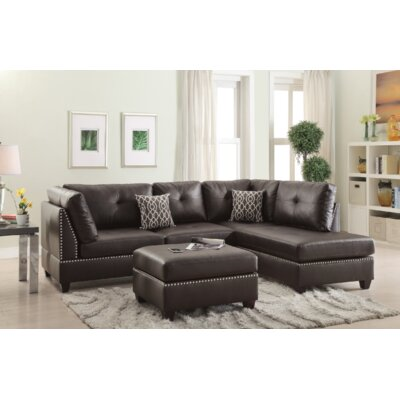 Turnpike Reversible Sectional with Ottoman Upholstery: Espresso