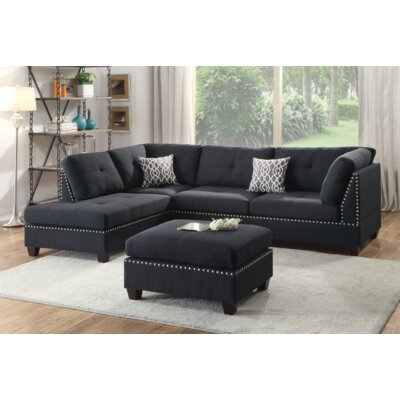 Turnpike Reversible Sectional with Ottoman Upholstery: Black