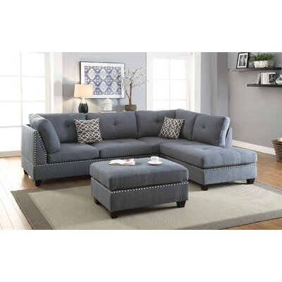 Turnpike Reversible Sectional with Ottoman Upholstery: Blue/Gray