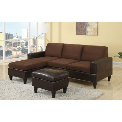 Pankova Sectional with Ottoman Upholstery: Chocolate