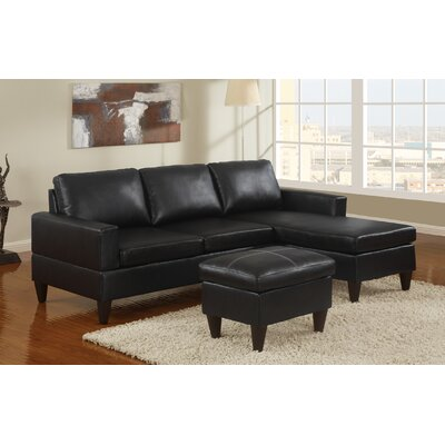 Pankova Sectional with Ottoman Upholstery: Black