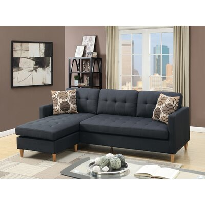 Carmody Reversible Modular Sectional with Ottoman Upholstery: Black