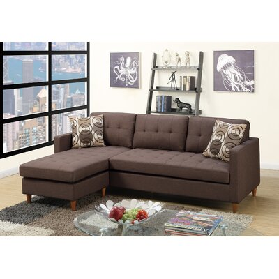 Carmody Reversible Modular Sectional with Ottoman Upholstery: Chocolate
