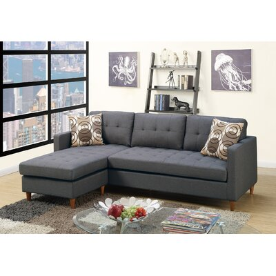 Carmody Reversible Modular Sectional with Ottoman Upholstery: Blue/Gray
