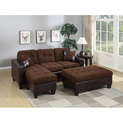 Nola Modular Sectional With Ottoman Upholstery: Chocolate