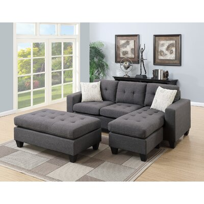 Nola Modular Sectional With Ottoman Upholstery: Blue/gray
