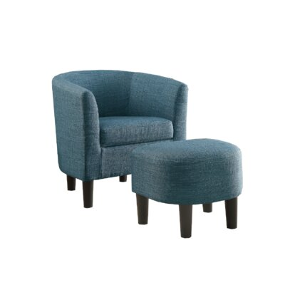 Plante Barrel Chair and Ottoman Upholstery: Dark Blue