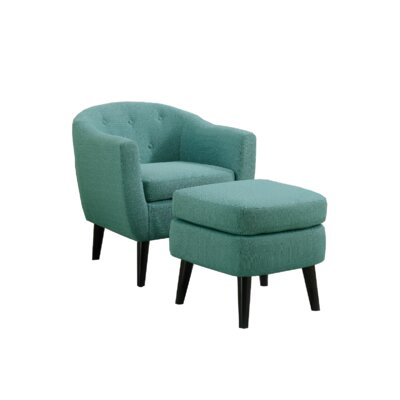 Westberg Barrel Chair and Ottoman Upholstery: Light Blue