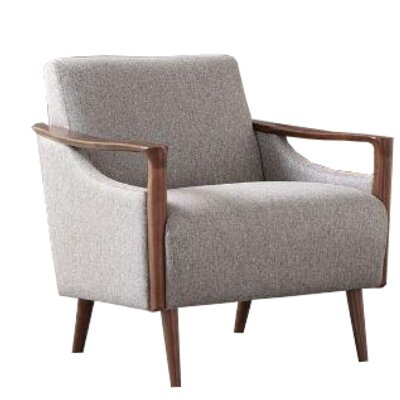 Wheless Armchair Upholstery: Gray, Finish: Brown