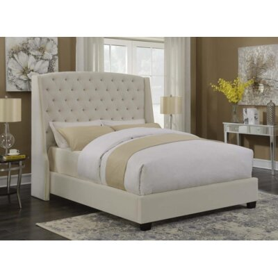 Ada Upholstered Panel Bed Color: Cream, Size: Queen