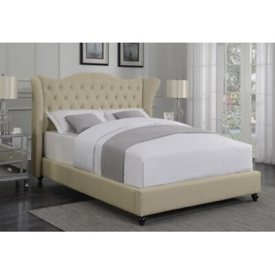 Damaris Upholstered Panel Bed Color: Beige, Size: Queen