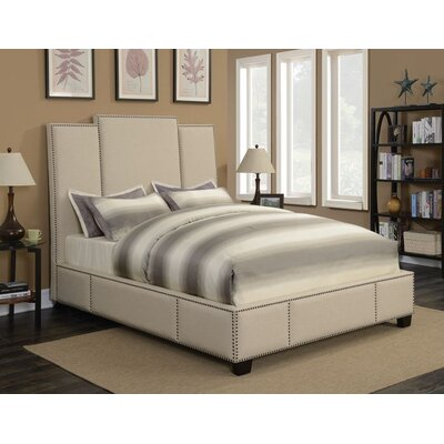 Yerger Upholstered Panel Bed Color: Beige, Size: Queen