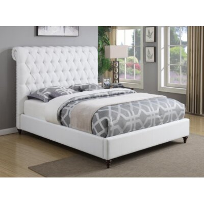 Bodhi Upholstered Sleigh Bed Color: White, Size: California King